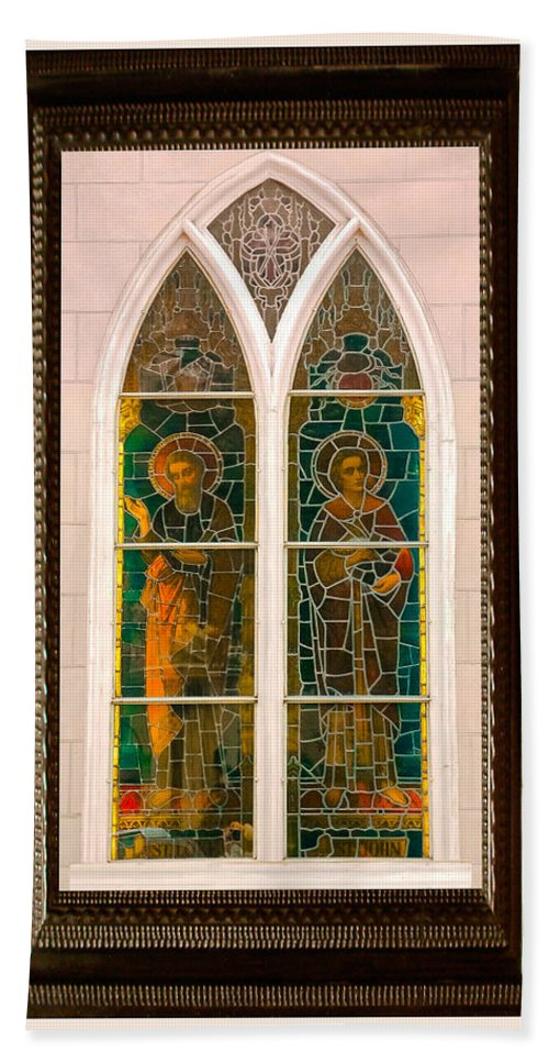 Church Beach Towel featuring the photograph Saints In The Window by DigiArt Diaries by Vicky B Fuller