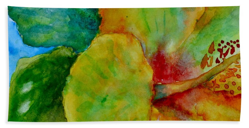 Hibiscus Beach Towel featuring the painting San Diego Hibiscus Study I Underwater by Beverley Harper Tinsley
