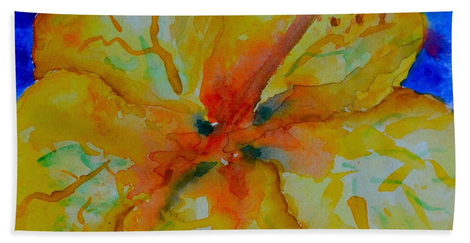 Hibiscus Beach Towel featuring the painting San Diego Hibiscus Study II Fireworks by Beverley Harper Tinsley