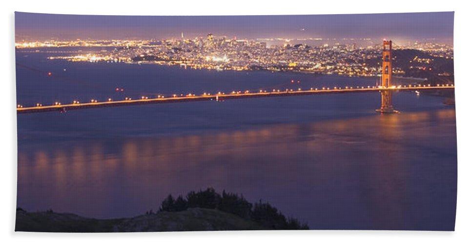 San Francisco Dusk Beach Towel featuring the photograph San Francisco Dusk by Wes and Dotty Weber