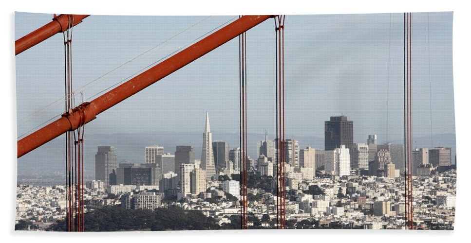 San Francisco Through The Cables Beach Towel featuring the photograph San Francisco Through The Cables by Wes and Dotty Weber