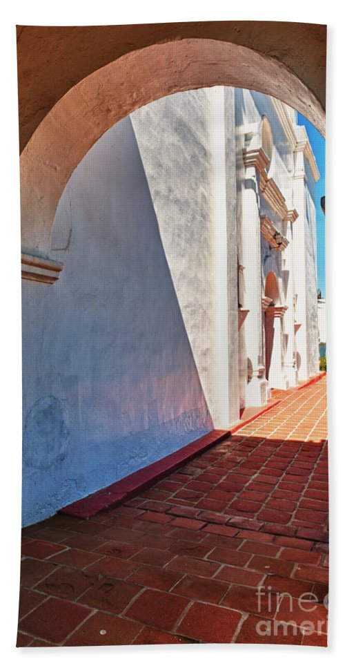 Hdr Beach Towel featuring the photograph San Luis Rey Courtyard by Sandra Bronstein