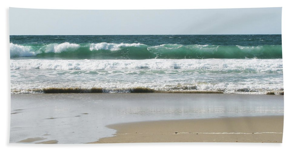California Beach Towel featuring the photograph Sand City Rolling Waves by Kathleen Grace