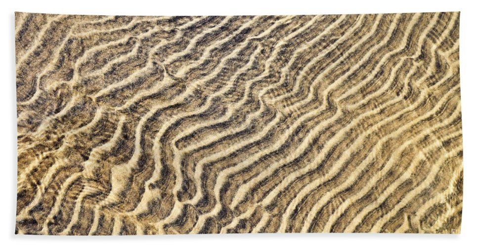 Sand Beach Towel featuring the photograph Sand Ripples In Shallow Water by Elena Elisseeva