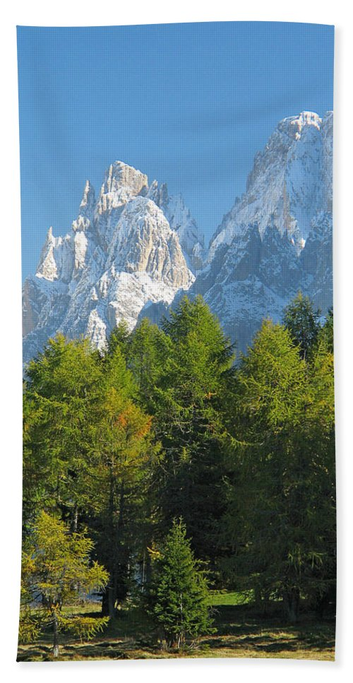 Sasso Lungo Beach Towel featuring the photograph Sasso Lungo Group In The Dolomites Of Italy by Greg Matchick