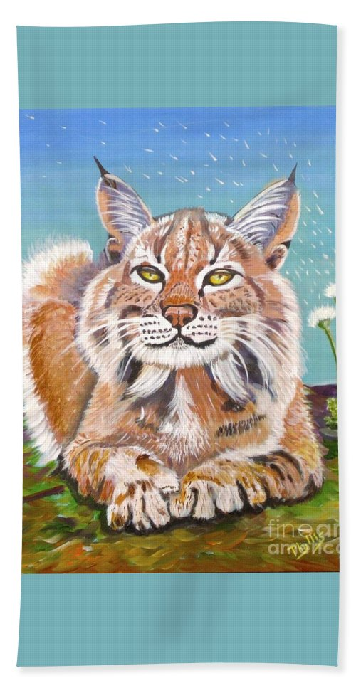 Lynx Beach Towel featuring the painting Sassy Lynx by Phyllis Kaltenbach