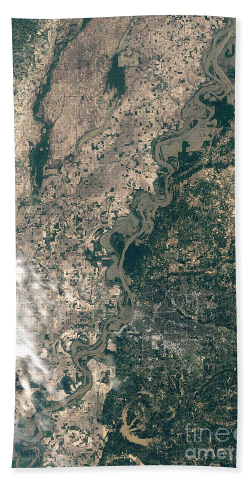 Mississippi River Beach Towel featuring the photograph Satellite Image Of Flood Waters by Stocktrek Images