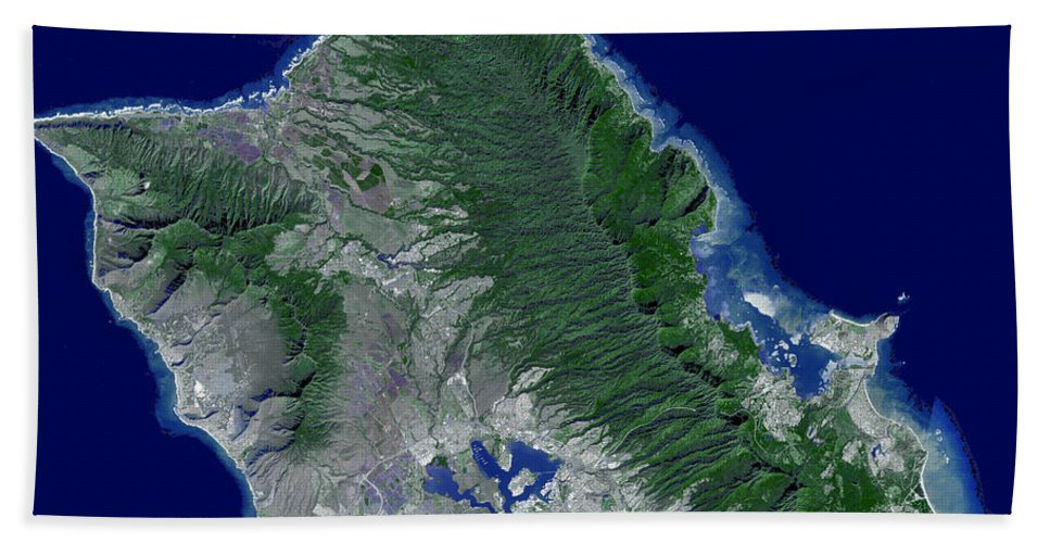 Pacific Islands Beach Towel featuring the photograph Satellite Image Of Oahu, Hawaii by Stocktrek Images