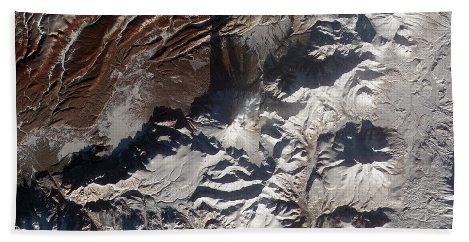 Mountainous Beach Towel featuring the photograph Satellite Image Of Russias Kizimen by Stocktrek Images