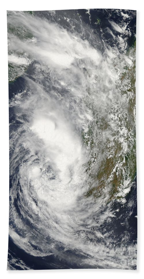 Madagascar Beach Towel featuring the photograph Satellite View Of Cyclone Giovanna by Stocktrek Images