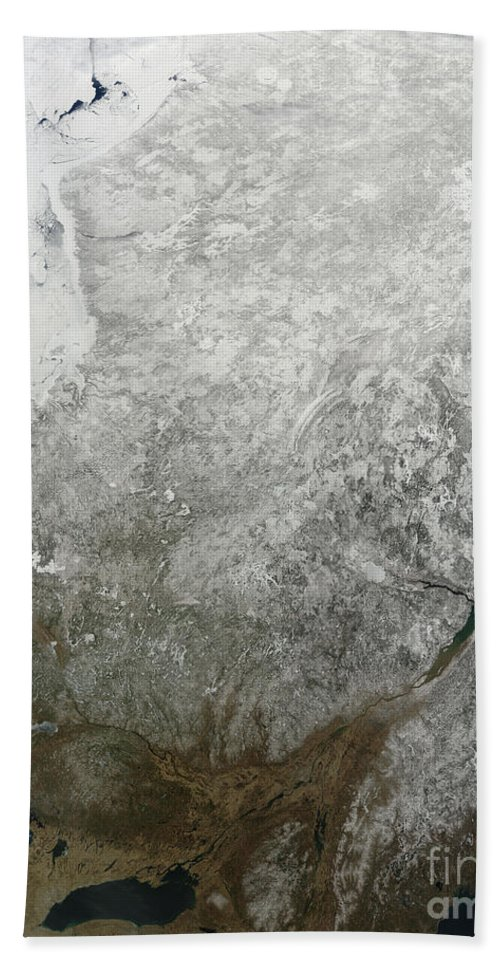 Snow Beach Towel featuring the photograph Satellite View Of Eastern Canada by Stocktrek Images