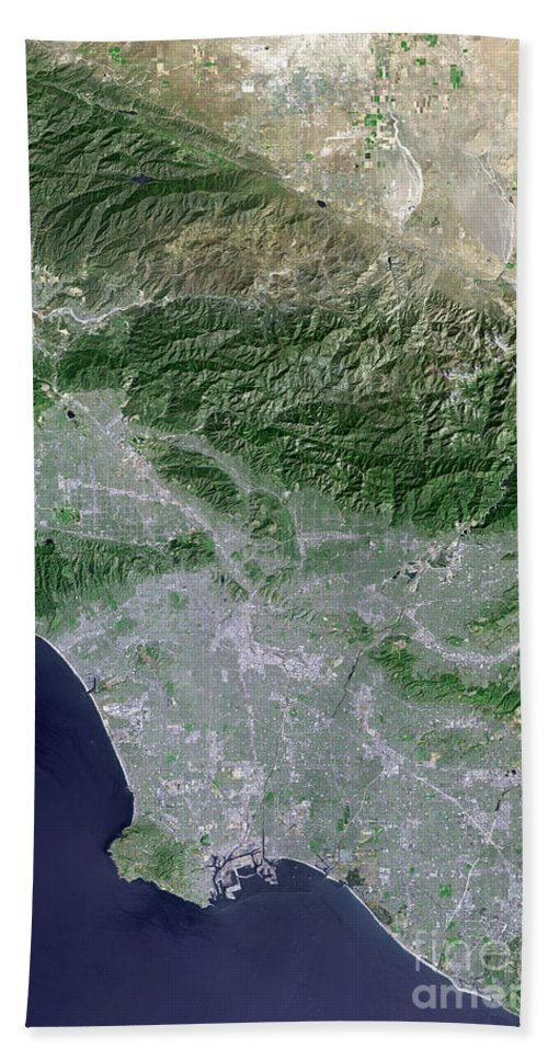 Santa Monica Beach Towel featuring the photograph Satellite View Of Los Angeles by Stocktrek Images