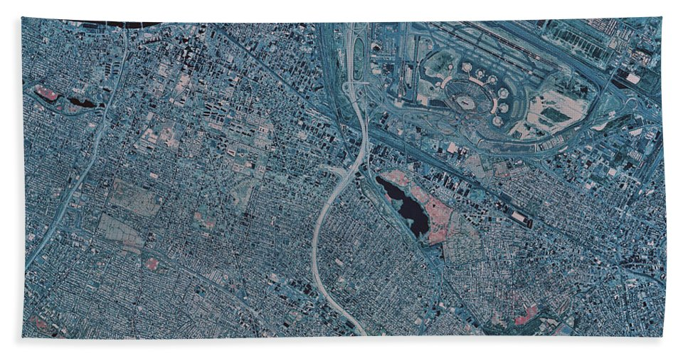 Color Image Beach Towel featuring the photograph Satellite View Of Newark, New Jersey by Stocktrek Images