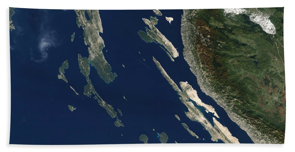 Island Beach Towel featuring the photograph Satellite View Of The Croatian Islands by Stocktrek Images