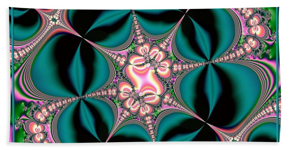 Satin Beach Towel featuring the digital art Satin Flowers And Butterflies Fractal 122 by Rose Santuci-Sofranko
