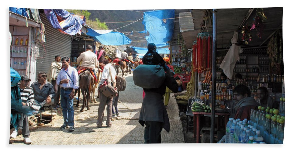 Vaishno Devi Beach Towel featuring the photograph Scene At The Climbing Path Leading To The Vaishno Devi Shrine In Jammu And Kashmir State In India by Ashish Agarwal