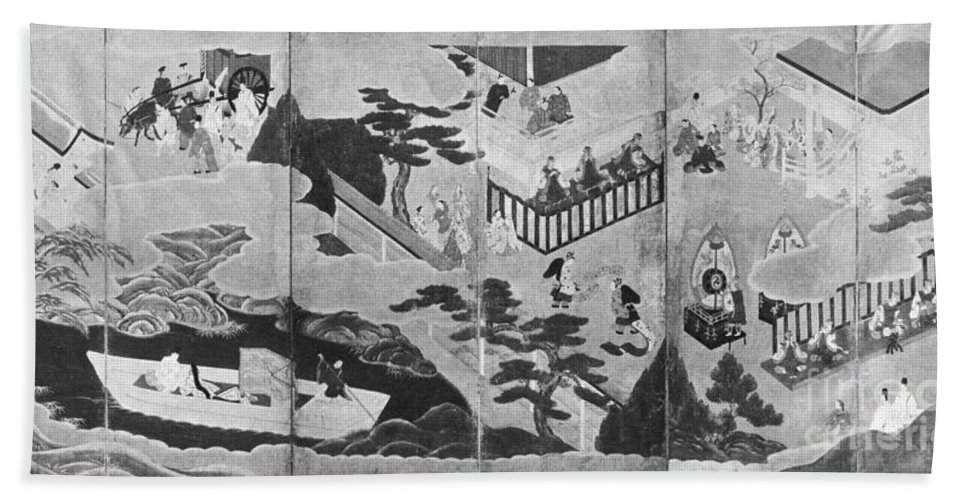 Genji Beach Towel featuring the photograph Scenes From The Tale Of Genji by Photo Researchers