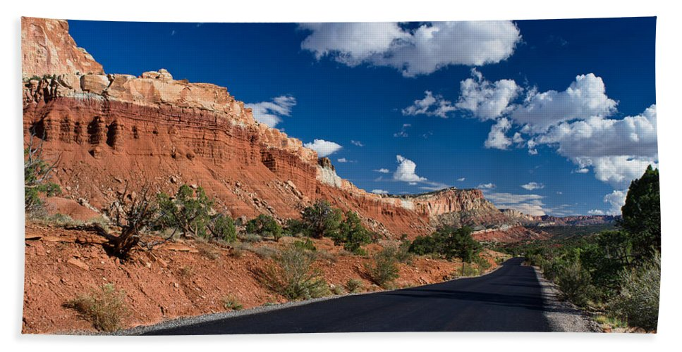 Capitol Reef Beach Towel featuring the photograph Scenic Drive Through Capitol Reef National Park by Greg Nyquist