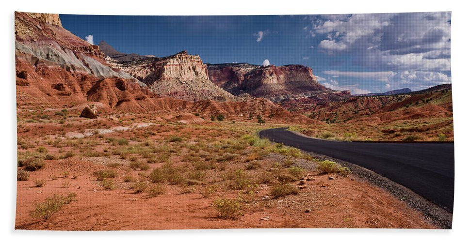 Capitol Reef Beach Towel featuring the photograph Scenic Road 2 by Greg Nyquist