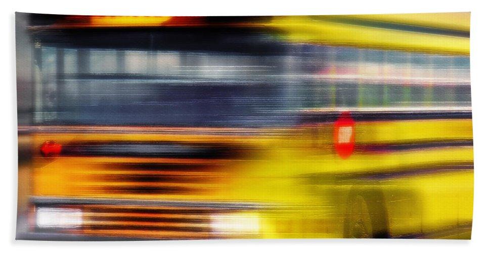 School Beach Towel featuring the photograph School Bus Rush by Steve Ohlsen