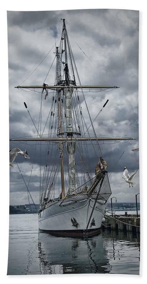 Art Beach Towel featuring the photograph Schooner In Halifax Harbor by Randall Nyhof