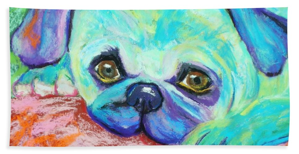 Dog Beach Towel featuring the painting Scout by Melinda Etzold