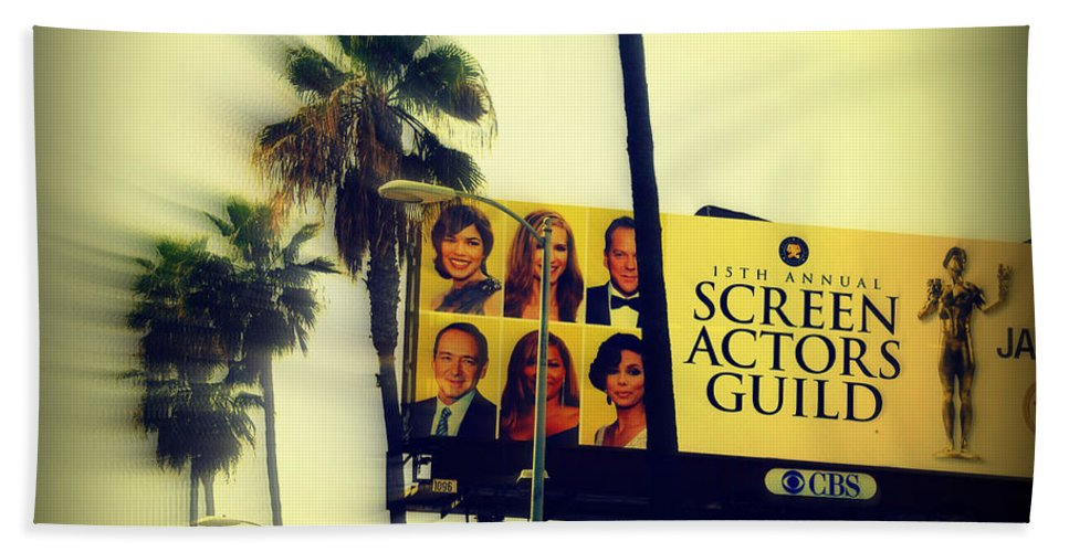 Hollywood Beach Towel featuring the photograph Screen Actors Guild In La by Susanne Van Hulst