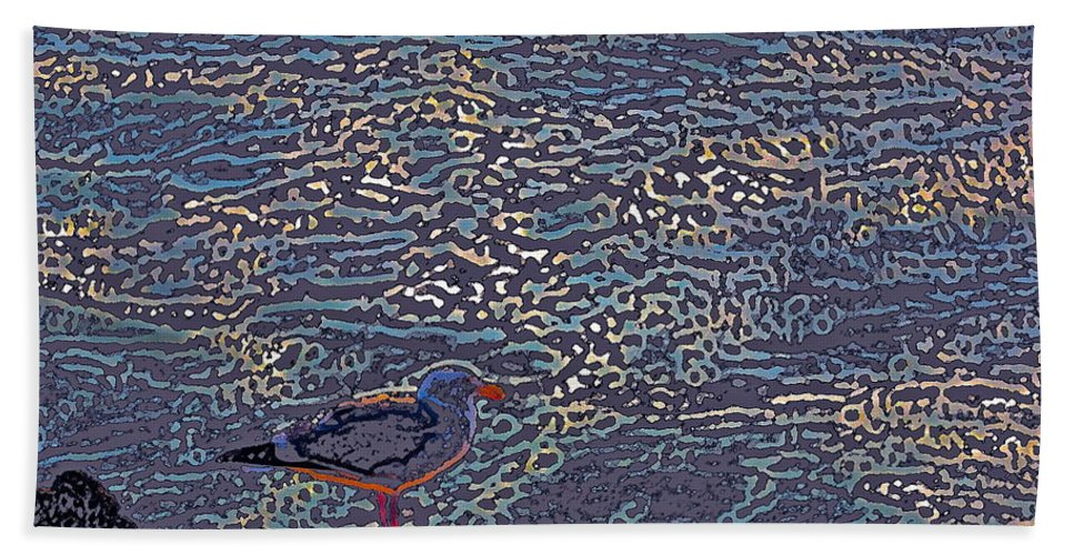 Abstract Beach Towel featuring the photograph Seagull by Pamela Cooper