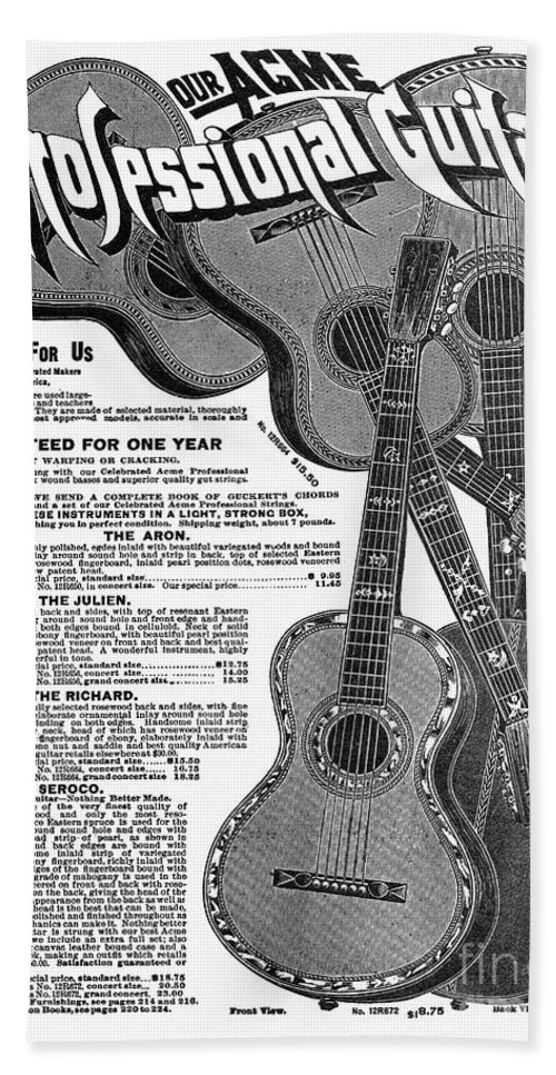 1902 Beach Towel featuring the drawing Sears Ad - Guitars 1902 by Granger