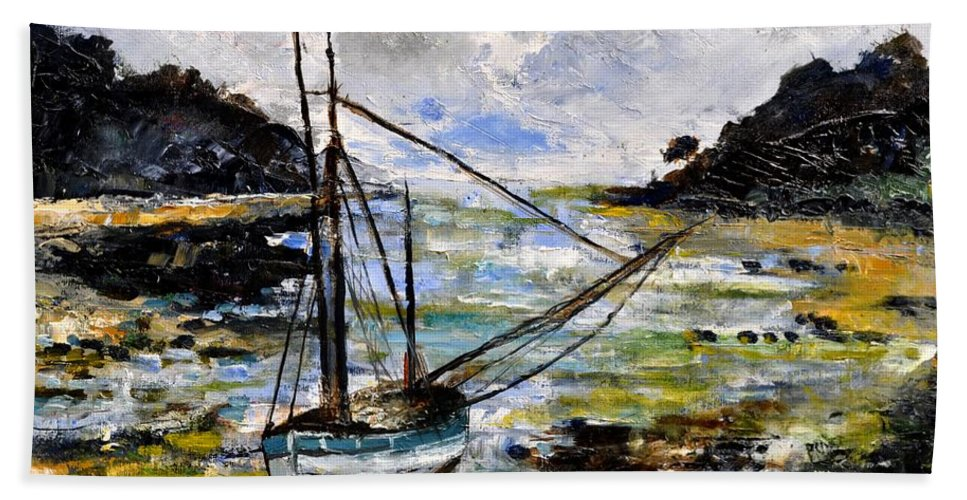 Seascape Beach Towel featuring the painting Seascape 695232 by Pol Ledent
