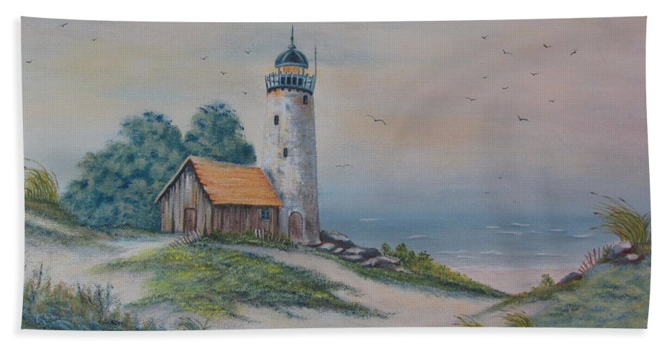 Seascape Beach Towel featuring the painting Seascape by Terry Boulerice