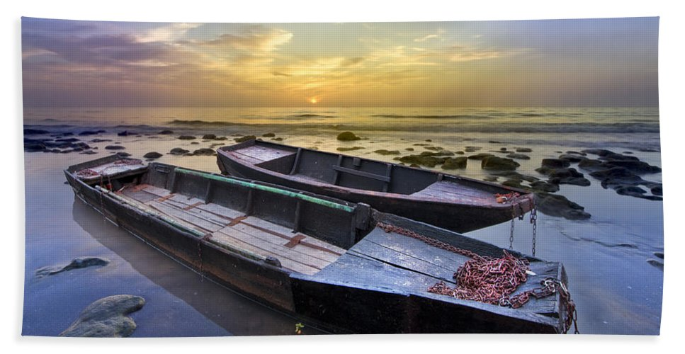 Boats Beach Towel featuring the photograph Secret Of The Sea by Debra and Dave Vanderlaan