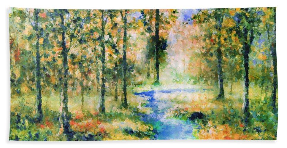 Impressionism Beach Towel featuring the painting Secret Rivers by Georgiana Romanovna
