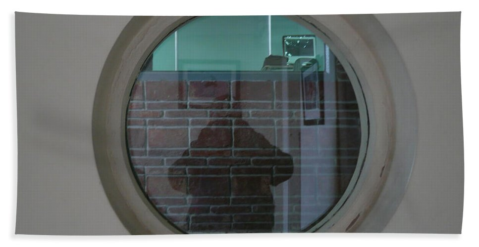 Portrait Beach Towel featuring the photograph Self Portrait In A Circular Glass On The Wall by Ashish Agarwal