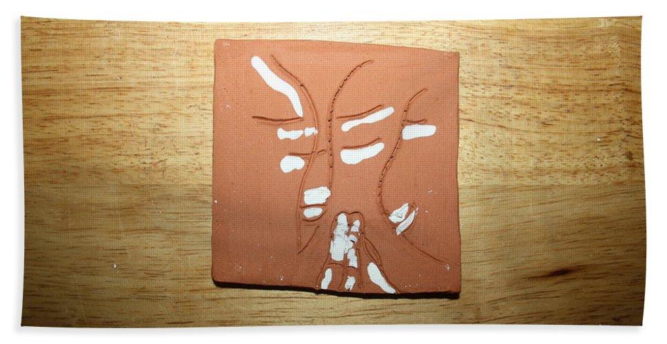 Jesus Beach Towel featuring the ceramic art Sentiment 2 - Tile by Gloria Ssali