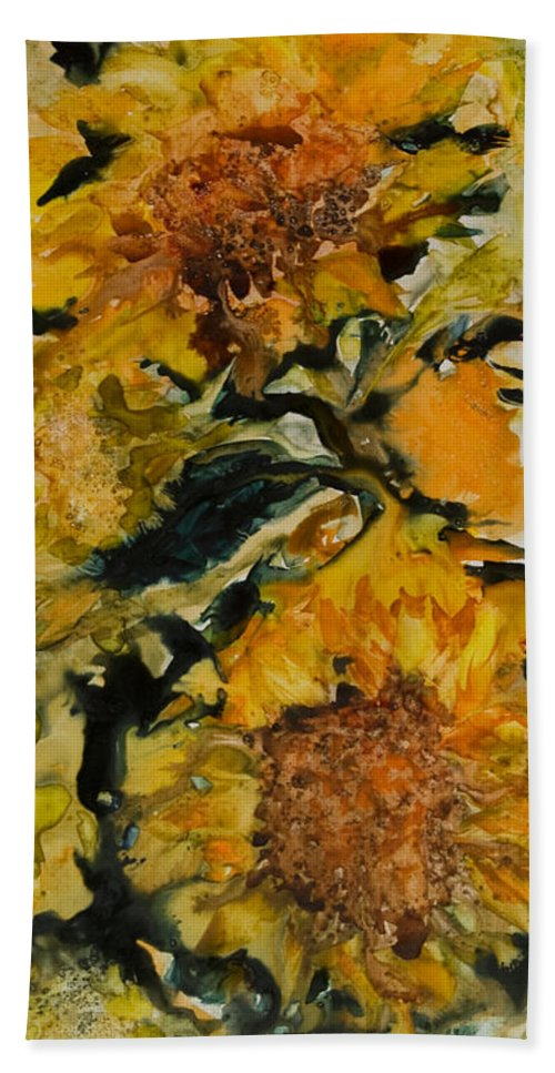 Sunflowers Beach Towel featuring the painting September Sunflowers by Joanne Smoley