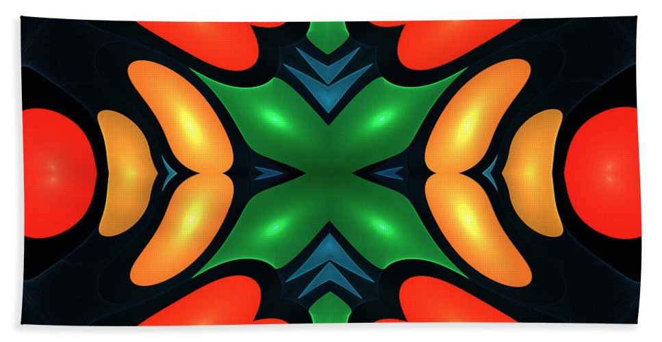 Paprika Vegetable Fractal Abstract Structure Painting Modern Art Color Colorful Expressionism Impressionism Beach Towel featuring the digital art Serie A 2 by Steve K