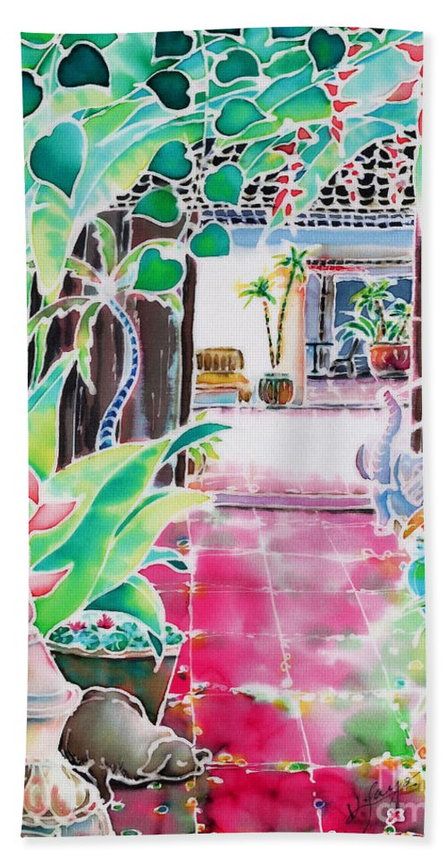 Silk Beach Towel featuring the painting Shade In The Patio by Hisayo Ohta