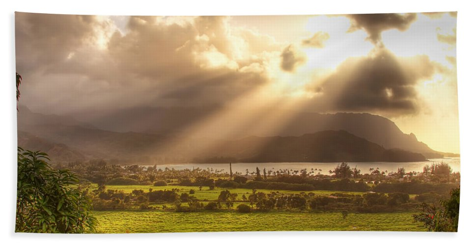 Light Beach Towel featuring the photograph Shafts Of Sunlight At Sunset by Robert Postma