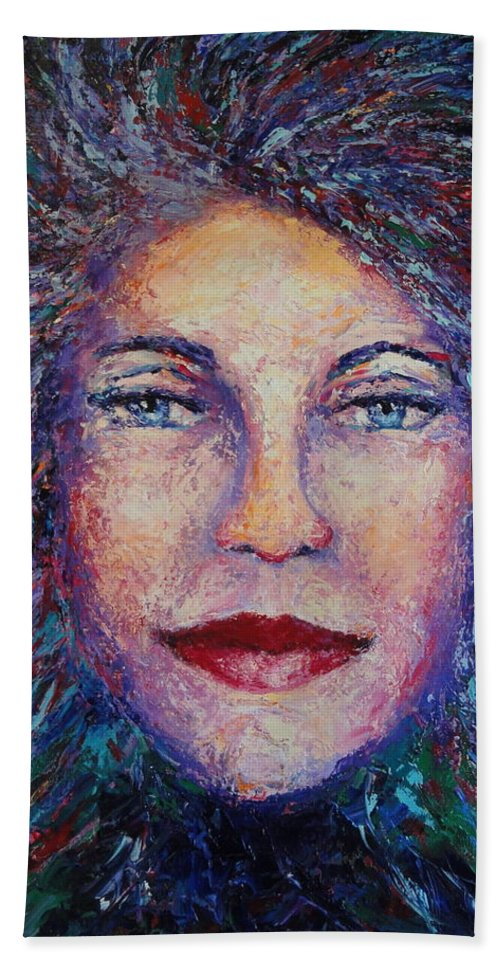 She's Come Undone Beach Towel featuring the painting She's Come Undone by Shannon Grissom