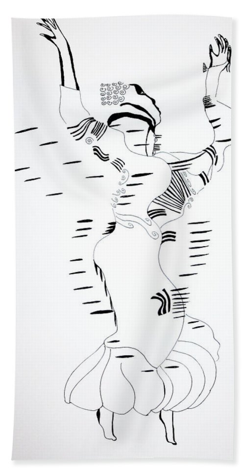Jesus Beach Towel featuring the drawing Shikat Dance - Morocco by Gloria Ssali