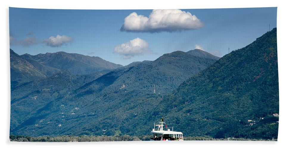 Ship Beach Towel featuring the photograph Ship On A Lake by Mats Silvan