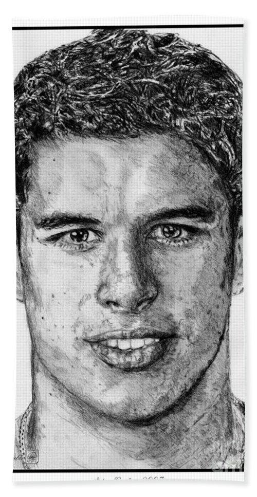 Sidney Crosby Beach Towel featuring the drawing Sidney Crosby In 2007 by J McCombie