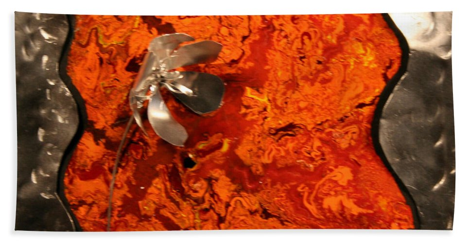 Mixed Media Beach Towel featuring the painting Silver Metal Flower On Orange by Connie Beattie