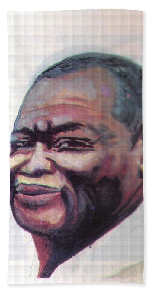 Portraits Beach Towel featuring the painting Simon Kimbangu by Emmanuel Baliyanga