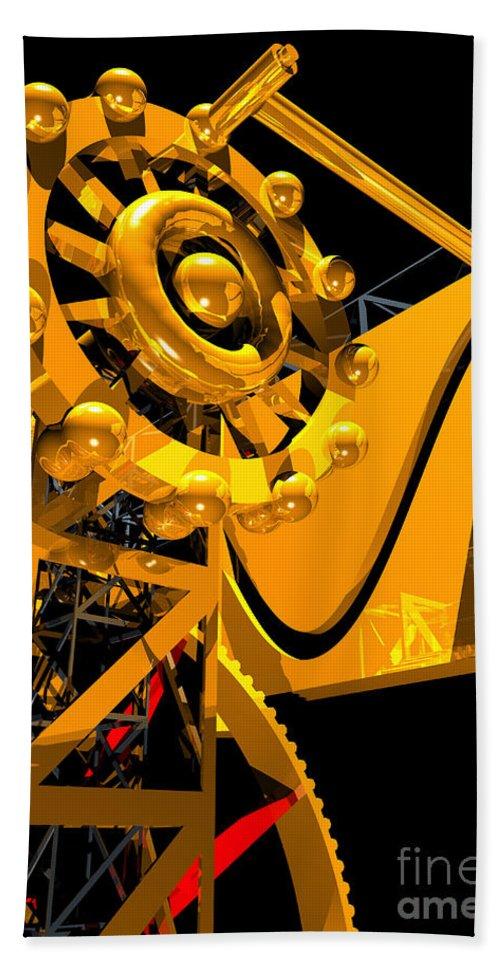 Brass Beach Towel featuring the digital art Sine Wave Machine Portrait 6 by Russell Kightley