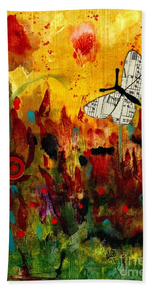 Emotive Art Beach Towel featuring the mixed media Singing Butterfly by Angela L Walker
