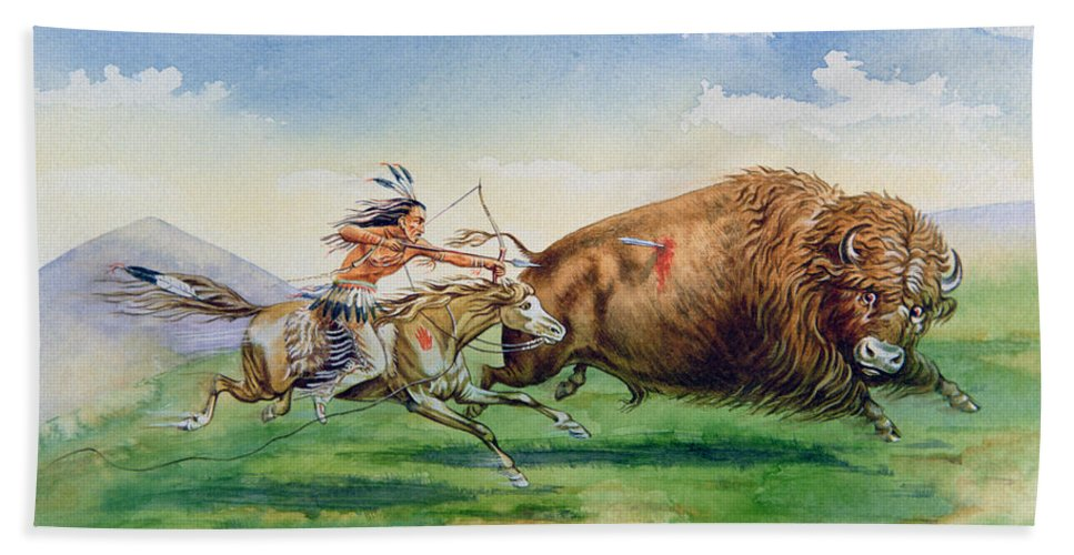 Tribe; Tribal; Native American Indian; Red; Chase; Bow And Arrow; Weapon; Hunt; Chasing; Killing; Us; Landscape; Mountain; Mountainous; Traditional; Dress; Costume; Feathered; Headdress; Horse; Speed; Galloping Beach Towel featuring the painting Sioux Hunting Buffalo On Decorated Pony by American School