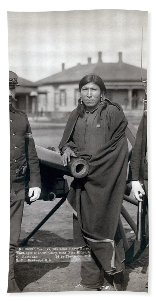 1891 Beach Towel featuring the photograph Sioux Warrior, 1891 by Granger