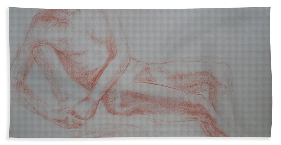 Reclining Man Beach Towel featuring the drawing Sitting Man Leaning To His Side by Jennifer Christenson
